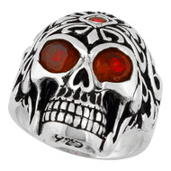 Regal Rogue Simulated Ruby Red Cubic Zirconia Eyes Skull Sterling Silver 925
