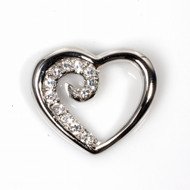 Heart Cubic Zirconia Pendant Sterling Silver 20MM