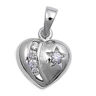 Heart Cubic Zirconia Pendant Sterling Silver 12MM
