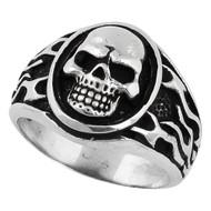 Flaming Medallion Skull Ring Sterling Silver 925