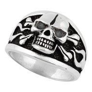 Flaming Danger Skull Sterling Silver 925 Black Cubic Zirconia Eyes