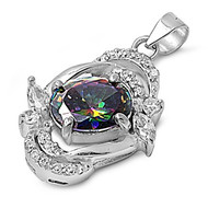 Abstract Solitaire Round Pendant Rainbow Simulated Topaz Cubic Zirconia Sterling Silver 23MM