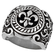 Coat of Arms Fleur de Lis Ring Sterling Silver 925