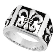 Anarchist Fleur de Lis Ring Sterling Silver 925