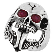 Demon Skull Ring Sterling Silver 925 Simulated Garnet Red Cubic Zirconia Eyes