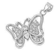 Elegant Butterfly Pendant Cubic Zirconia Sterling Silver 18MM
