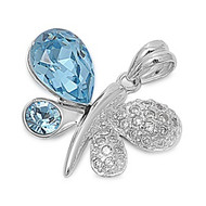 Aqua Winged Butterfly Pendant Cubic Zirconia Sterling Silver 17MM