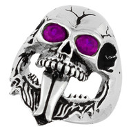 Demon Skull Sterling Silver 925 Purple Cubic Zirconia Eyes