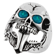 Demon Skull Sterling Silver 925 Simulated Aqua Blue Cubic Zirconia Eyes