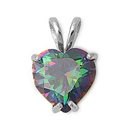 Apple Heart Pendant Rainbow Simulated Topaz Clear Cubic Zirconia Sterling Silver 16MM