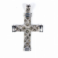 Cross Simulated Marcasite Pendant Sterling Silver 43MM