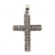Sterling Silver Simulated Marcasite Cross Pendant 38MM
