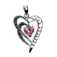 Heart-Shaped Pink Cubic Zirconia Center Simulated Marcasite Heart Pendant Sterling Silver 33MM