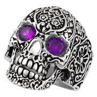 Dia De Muertos Floral Skull Sterling Silver 925 Purple Cubic Zirconia Eyes