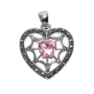 Heart Shape Pink Cubic Zirconia Spider Web Heart Pendant With All Around Simulated Marcasite Sterling Silver 27MM