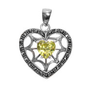Heart Shape Simulated Peridot Cubic Zirconia Spider Web Heart Pendant With All Around Simulated Marcasite Sterling Silver 27MM