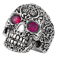 Dia De Muertos Floral Skull Sterling Silver 925 Simulated Garnet Red Cubic Zirconia Eyes