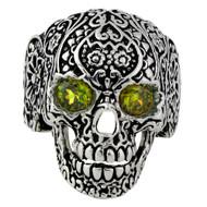Dia De Muertos Floral Skull Sterling Silver 925 Olive Green Cubic Zirconia Eyes