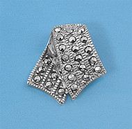 Sterling Silver Simulated Marcasite Pave Fashion Pendant 19MM
