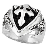 Dragon Shield Cross Ring Sterling Silver 925