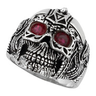 Barbarian Warlord Skull Ring Sterling Silver 925 Simulated Garnet Red Cubic Zirconia Eyes