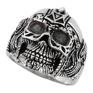 Barbarian Warlord Skull Sterling Silver 925 Black Cubic Zirconia Eyes