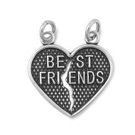 Best Friends Forever Heart Pendant Sterling Silver 23MM