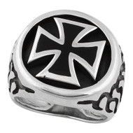 Burning Iron Cross Ring Sterling Silver 925