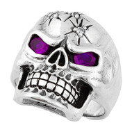 Four Shots of Wisdom Purple Cubic Zirconia Eyes Skull Sterling Silver 925