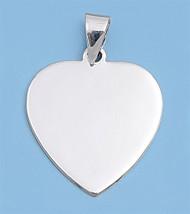 Flat Heart Pendant Sterling Silver 21MM