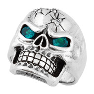 Four Shots of Wisdom Simulated Aqua Blue Cubic Zirconia Eyes Skull Sterling Silver 925