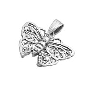 Antique Filigree Butterfly Pendant Sterling Silver 16MM