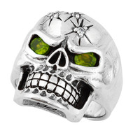 Four Shots of Wisdom Olive Green Cubic Zirconia Eyes Skull Sterling Silver 925