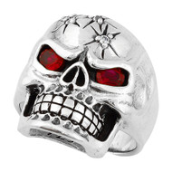 Four Shots of Wisdom Simulated Ruby Red Cubic Zirconia Eyes Skull Sterling Silver 925