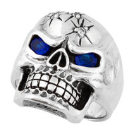 Four Shots of Wisdom Simulated Sapphire Blue Cubic Zirconia Eyes Skull Sterling Silver 925