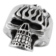 Eternal Flame Death Skull Ring Sterling Silver 925