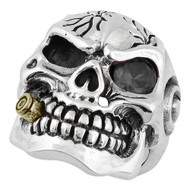 YG Plated Bullet to the Head Skull Sterling Silver 925 Black Cubic Zirconia One Eye
