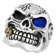 YG Plated Bullet to the Head Skull Sterling Silver 925 Simulated Sapphire Blue Cubic Zirconia One Eye