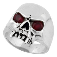 Vampire of Hell Skull Ring Sterling Silver 925 Simulated Garnet Red Cubic Zirconia Eyes