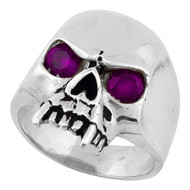 Vampire of Hell Skull Sterling Silver 925 Purple Cubic Zirconia Eyes