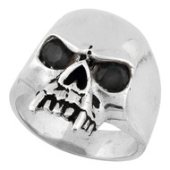 Vampire of Hell Skull Sterling Silver 925 Black Cubic Zirconia Eyes