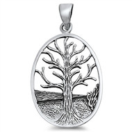 Tree of Life Pendant Sterling Silver 34MM