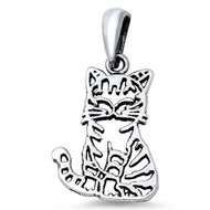 Cat Pendant Sterling Silver 20MM