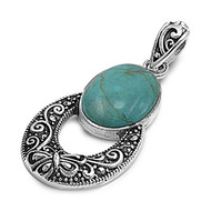 Sterling Silver Simulated Marcasite Buterfly Swirl Pendant Simulated Turquoise 30MM