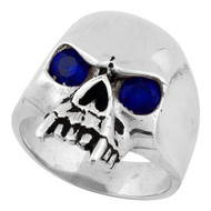 Vampire of Hell Skull Sterling Silver 925 Simulated Sapphire Blue Cubic Zirconia Eyes