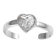 Candy Crush Heart Cubic Zirconia Knuckle / Toe Ring Sterling Silver 6MM