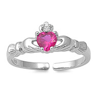 Benediction of Claddagh Heart Knuckle / Toe Ring Simulated Ruby Cubic Zirconia Sterling Silver 7MM