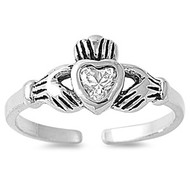 Claddagh Benediction Heart Knuckle / Toe Ring Cubic Zirconia Sterling Silver 7MM