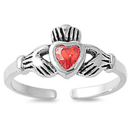 Claddagh Benediction Heart Knuckle / Toe Ring Simulated Ruby Cubic Zirconia Sterling Silver 7MM