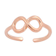 Infinity Cubic Zirconia Knuckle / Toe Ring Rose Gold- Tone Plated Sterling Silver 5MM